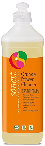 Sonett Organic Universal Orange Power Cleaner, 17 Fl. Oz / 0.5l - With orange oil from organic cultivation -Pure herbal intensive cleaner -Versatile on all water-resistant surfaces - Orange Floor Cleaner