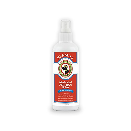 Seamus Medicated Anti Itch Spray for Dogs, Cats and Horses –Veterinarian Formula Itch Relief for Dermatitis, Dry Skin, Allergies, Minor Cuts with PRAMOXINE, OMEGA-6 FATTY ACIDS AND COLLOIDAL OATMEAL