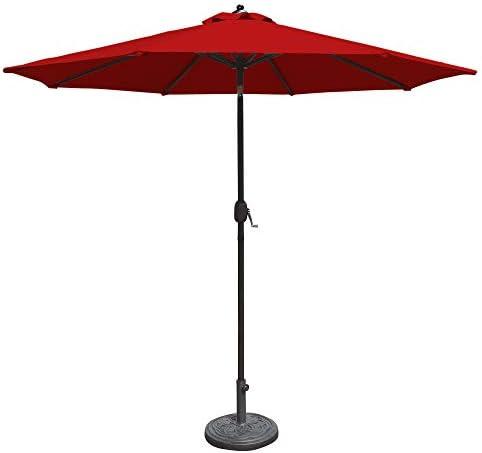 Island Umbrella NU5422R Mirage 9-ft Octagonal Red Olefin Canopy Market Patio Umbrella