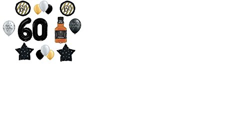 15 pc BALLOON set 60th BIRTHDAY black GOLD WHISKEY bottle PARTY decorations BALLOONS (Black Bottle Whisky)