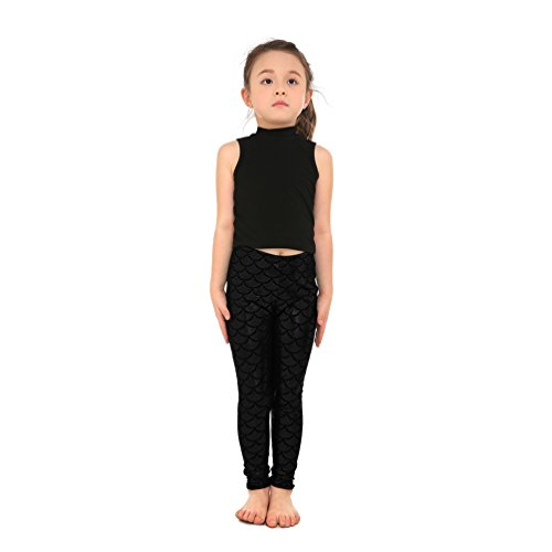 Black Scale - Lesubuy Shiny Black Mermaid Tail Fish Scales Girl's Leggings Pants Medium