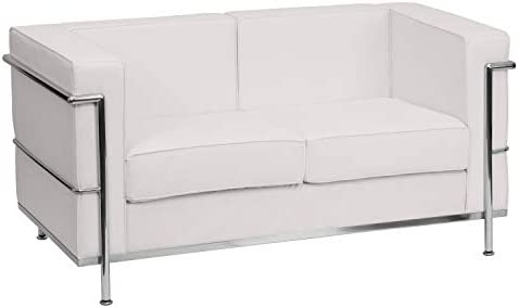 Flash Furniture HERCULES Regal Series Contemporary White LeatherSoft Loveseat