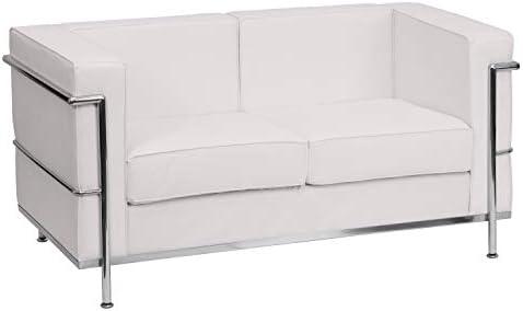 Flash Furniture HERCULES Regal Series Contemporary White LeatherSoft Loveseat