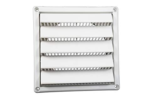 Plastic Wall Vent with Fixed Louvers 6 Inch White