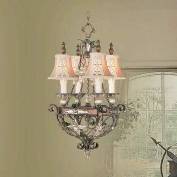 Livex Lighting 8844-64 Pamplona - Four Light Chandelier, Palacial Bronze with Gilded Accent Finish with Hand Embroidered Shade ()