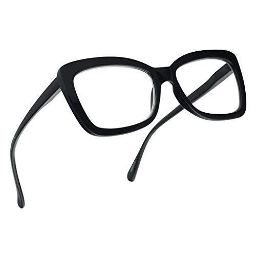 SunglassUP Chunky Square Classy Cat Eye Prescription Reading Glasses for Women Power +1.0 Thru +3.25 (Black, ()
