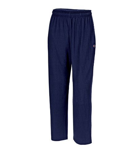 Champion Men's Open Bottom Light Weight Jersey Sweatpant, Navy, Medium