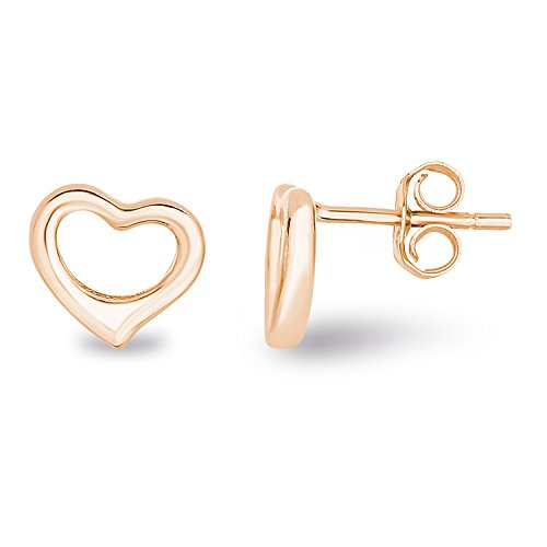 14k Rose Gold Plated Sterling Silver Plain Hollow Heart Stud Earrings