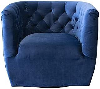 ASHCROFT Rose Mid-Century Modern Navy Blue Velvet Swivel Accent Chair