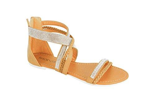ShoeVibe Women Linda Flat Open Toe Strappy Braided Sandal with Rhinestones