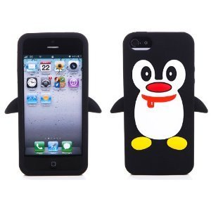 OOOUSE Black Cute 3D Silicone Penguin Protective Full Cover Skin Case for iPhone 5 5G 5th
