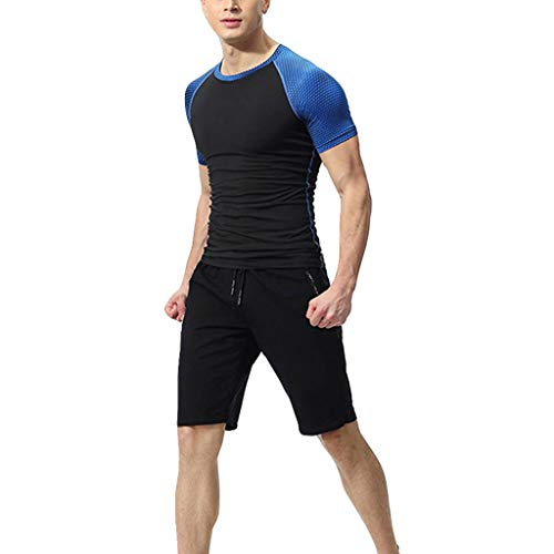 IAMUP Men's Elastic Fitness Suit Fashion Hort T-Shirt Fast Drying Summer Tops Pants Sports Tight Running Suit Blue