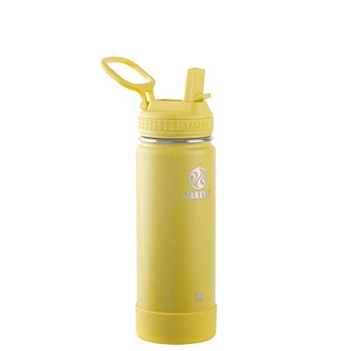 Takeya 18oz Actives Insulated Stainless Steel Water Bottle with Spout Lid - Light Yellow