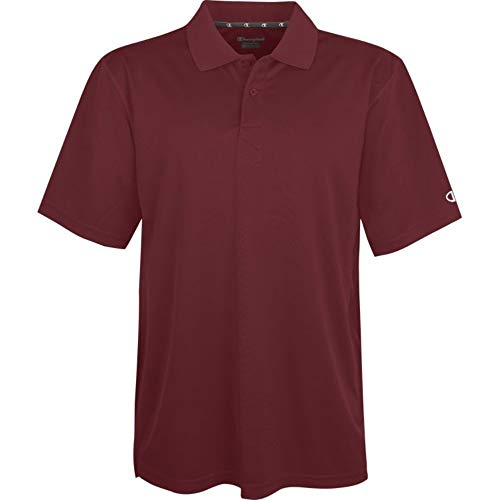 Champion Double Dry Men Solid-Color Polo Shirt, Maroon, Large ()