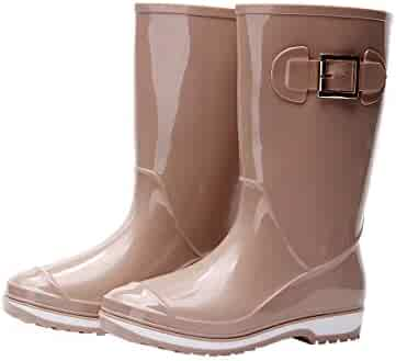 d86d36fdc71cd Kontai Women Half Calf Rubber Rainboots Waterproof Rubber for Garden Women  rain Footwear