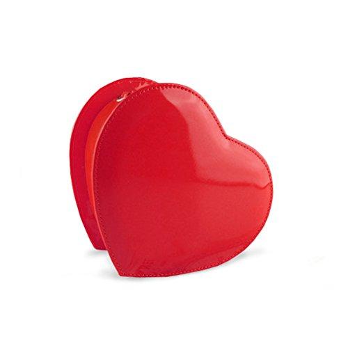 Hoxis Lovely Heart Shape Clutch Bag Chain Shoulder Bag Party Evening Handbag Purse (Red) - Red Heart Handbag