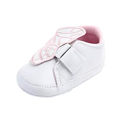 Weixinbuy Toddler Baby Girls Butterfly Non-Slip Soft Sole Casual Sneaker Crib Shoes White