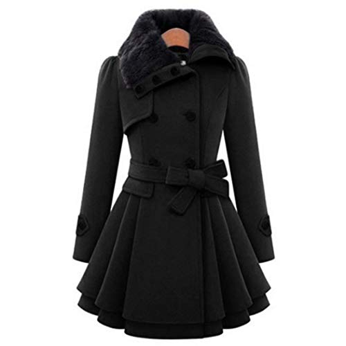 kigin Women Casual A-line Pleated Double Layers Hem Coat Outwear Wool & Blends -