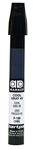The Original Chartpak AD Marker, Tri-Nib, Cool Gray 8, 1 Each -