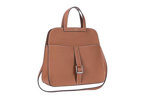 (LUCKYSGY Women's Genuine Leather Handbag Shoulder Crossbody Bags Top Handle Purse (Camel), Medium)