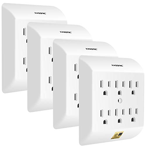 Kasonic Multi Plug Outlet 4 PACK, Wall Mount power strip with 6 Outlet Tap; Grounded Wall Plug Extender, Easy-to-Install, UL Listed, for Home/School/Office, White