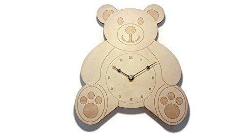 Teddy Bear Wall Clock - 9 in by 10 in - Birch