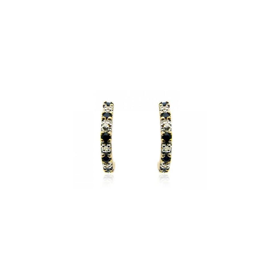 9ct Yellow Gold Sapphire & Diamond Half Hoop Earrings