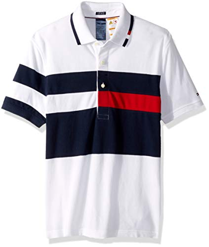 Tommy Hilfiger Button Shirt - Tommy Hilfiger Adaptive Men's Polo Shirt with Magnetic Buttons Custom Fit, Bright White/Medium, Large
