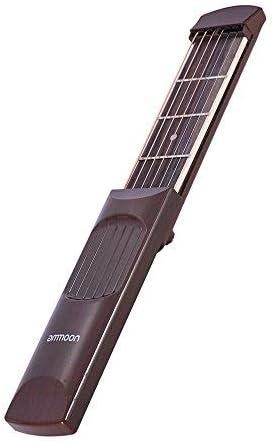 ammoon Bolsillo Portátil Guitarra Acustica Herramienta de Práctica Gadget Chord Trainer 6 String 4 Fret Modelo Madera de Palisandro Madera Grano para Principiante