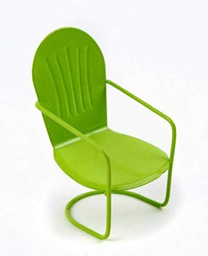 GARDENSHOW Miniature Fairy Garden Green Metal Glider Chair -