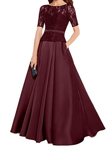 Spitze Kurzarm Partykleider Charmant Abendkleider Satin Linie A Rock Burgundy Ballkleider Damen Brautmutterkleider URwEnq7