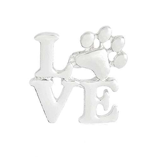 Dwcly Love Pet Paw Foot Print Pins Pawprint Brooch Puppy Love Gifts Memorial Jewelry Keepsake Jewelry (Silver)