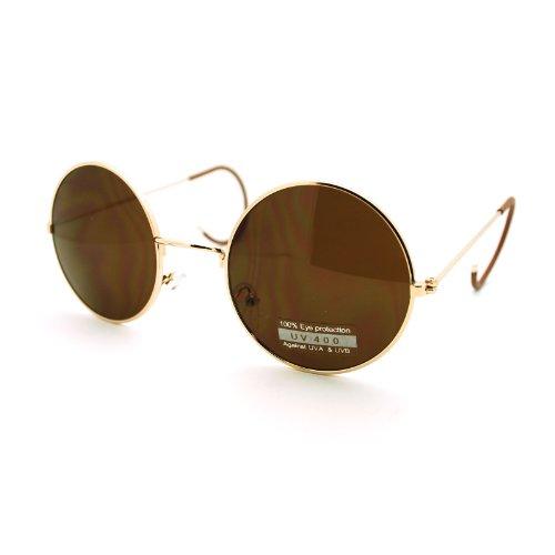 Gold Retro Style Ear Loops Warp Arm Tip Lennon Circle Lens - Sunglasses 90s Circle