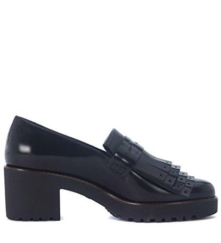 Hogan Women's H277 Black Leather Heeled Loafers 38,5(EU) -5.5(UK) Black