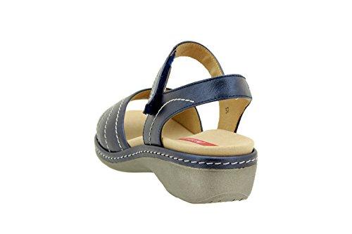 Calzado mujer confort de piel Piesanto 8801 sandalia velcro plantilla extraíble cómodo ancho Marino