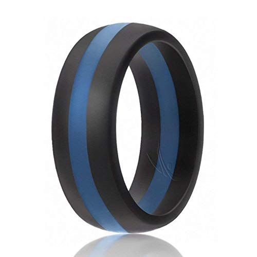 (ROQ Silicone Wedding Ring for Men, Silicone Rubber Band - Black with Blue Thin Line Stripe, Size 7)