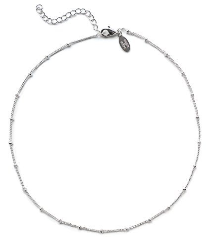 Benevolence LA Choker Necklace: White Gold Necklace for Women 14k Gold Dipped Satellite Beaded Curb Ball Chain Gold Choker Layering Womens Necklaces Simple - Silver Sterling Necklace Beaded
