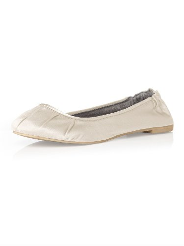Women's Matte Satin Ballet Flats with Pleated Toe Detail by Dessy - Ivory - Size 7