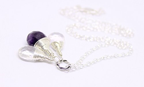 (MILA Sterling Silver Gemstone Necklace. Featuring Natural Faceted Pear Shape Briolette Gemstones Rose Quartz, Moonstone and Amethyst Jewelry, Fertility, Pregnancy, Birthstone gems)