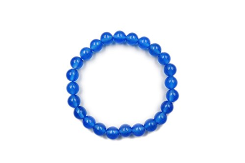 EVE SUN Natural Gems Jade Bracelet Jewelry Handmade Beaded Heal 8mm Stretch Bracelet (Blue-Agate)