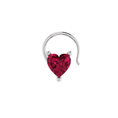 (Heart Shaped D/VVS1 Simulated diamond 925 Sterling Silver Stud Screw & Twist Wire nose pin)