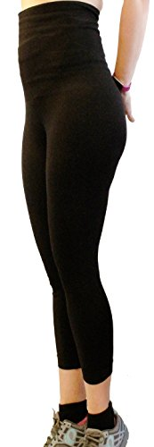 Mothers Essentials Postpartum High Waist Tummy Compression Control Slimming Capri Leggings-Shipping From USA (XLarge, Black-Capri)