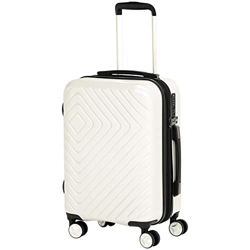 AmazonBasics Geometric Hard Shell Carry-On Rolling Spinner Suitcase Luggage - 20 Inch, Cream