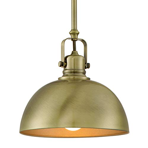 "Kira Home Belle 9"" Contemporary Industrial 1-Light Pendant Light, Adjustable Length + Shade Swivel Joint, Brushed Brass Finish"