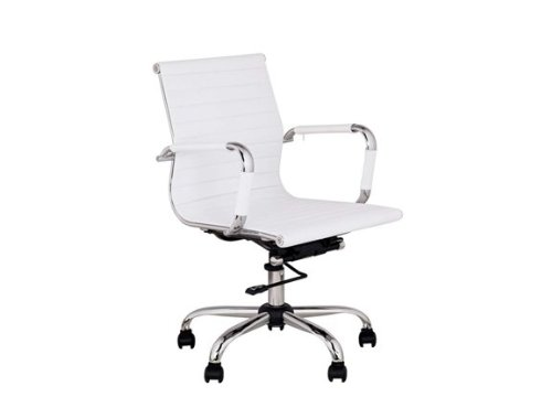 Best Deal Depot Leather Height adjustable Rotating Office Chair Computer Desks & Conference Rooms White (Desk Chairs Depot Office)