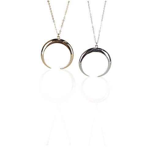 (Funky Monkey Fashion Simple Minimalist Necklace - 14K Gold Plated on Base Metal. Gold or Silver Toned, Long Chain (Bar {Gold}) (Crescent {Gold}))