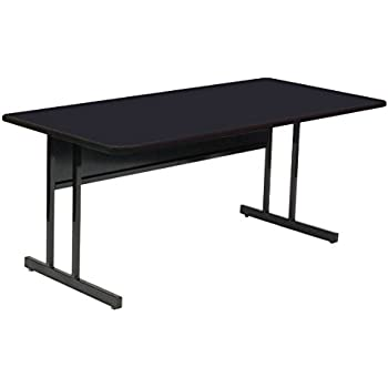 "Correll WS3060-07 - School, Office, Computer Or Training Table, 30"" x 60"" Desk Height Work Station, Black Granite High Pressure Laminate Top"