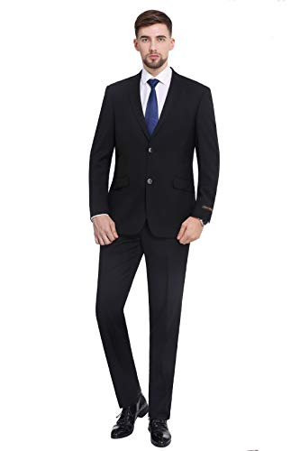 P&L Men's 10-colors Slim Fit Two-piece Single Breasted 2-button Suit Jacket Pants Set,Black,44 Regular / 38 Waist