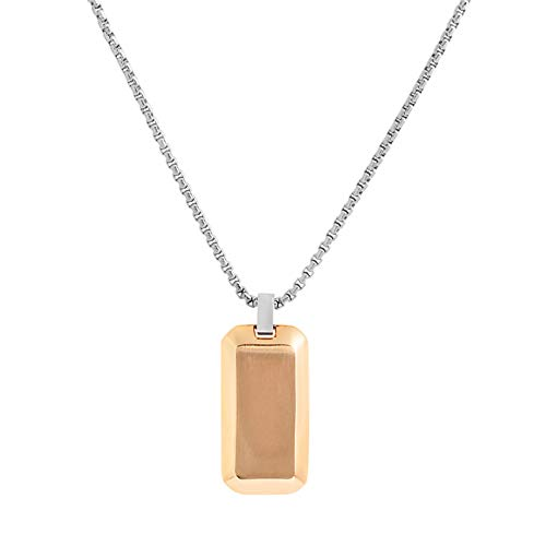 Geoffrey Beene Stainless Steel Men's Angled Edges Dog Tag Necklace, Rose Gold (Dog Tag Charm Pendant Silver)