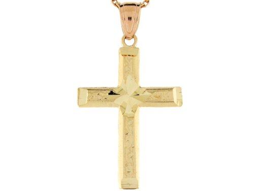 14ct Or Massif Pendentif Croix Religieuse Catholique Taille Diamant